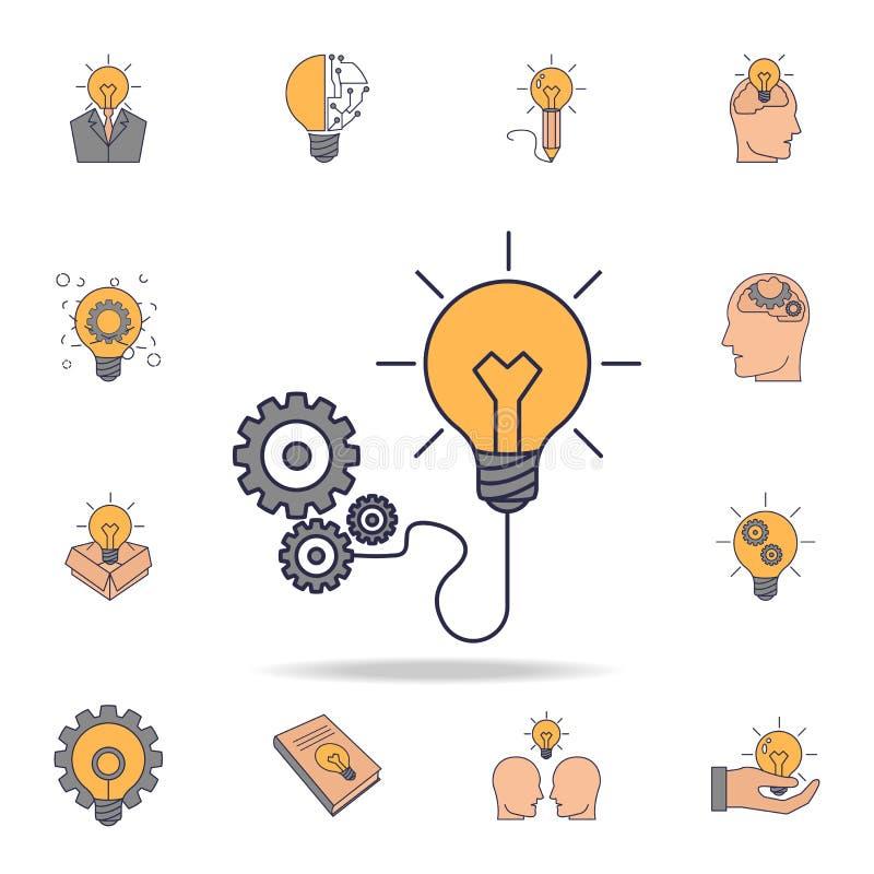 icono del color del fild de la bombilla y de los engranajes Sistema detallado de iconos de la idea del color Diseño gráfico super libre illustration