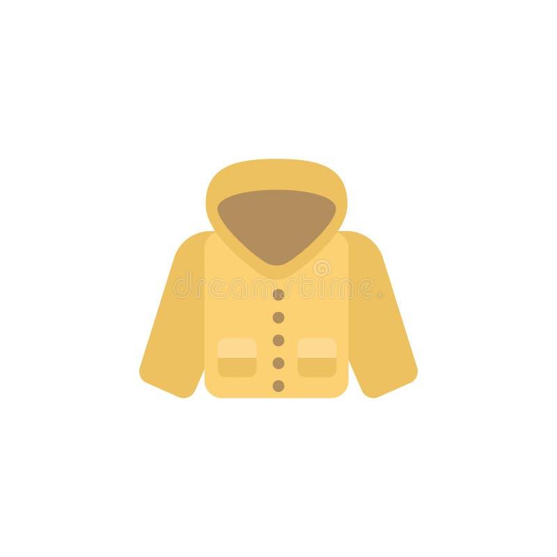 Icono del color del impermeable Elemento del icono de la ropa del color para los apps móviles del concepto y de la web El icono d ilustración del vector
