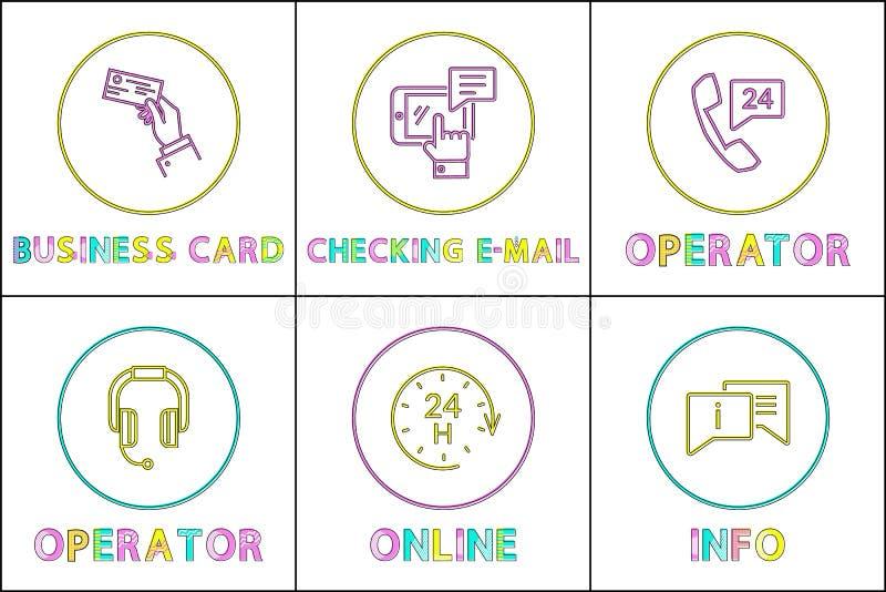 Icono del color del servicio de asistencia fijado en la línea estilo de la cosa libre illustration