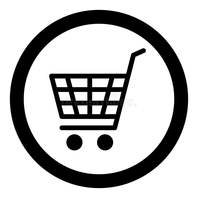 Icono del comercio electrónico, carro de la compra, negro aislado en el fondo blanco, ejemplo del vector ilustración del vector