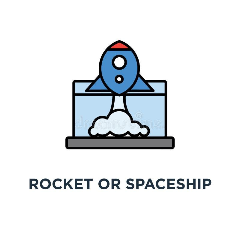 icono del comienzo del cohete o de la nave espacial el futuro, empieza para arriba, idea creativa, nueva, diseño del símbolo del  stock de ilustración