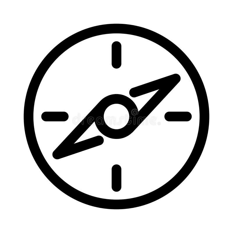 Icono del compás Símbolo del viaje o de la navegación Elemento del diseño moderno del esquema Muestra plana negra simple del vect ilustración del vector