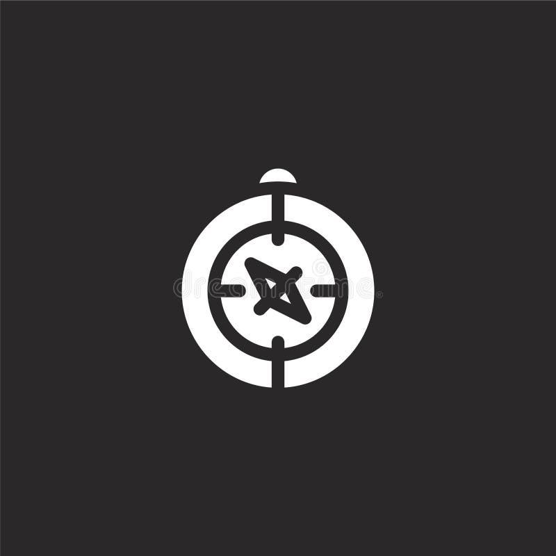 Icono del comp?s Icono llenado del compás para el diseño y el móvil, desarrollo de la página web del app icono del compás de la c stock de ilustración