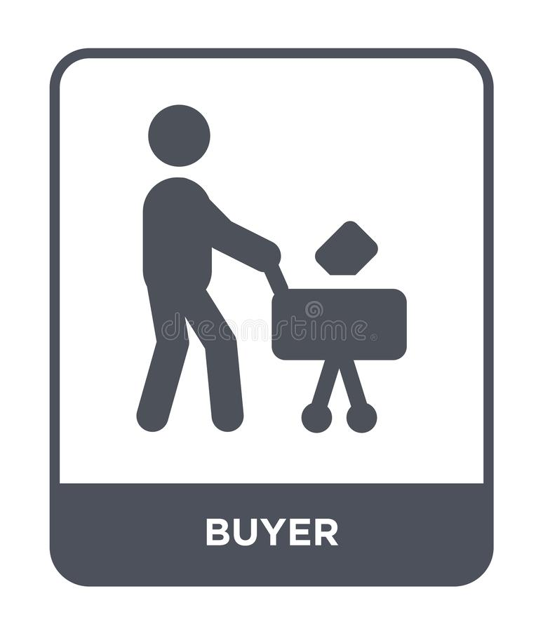 icono del comprador en estilo de moda del diseño icono del comprador aislado en el fondo blanco símbolo plano simple y moderno de stock de ilustración