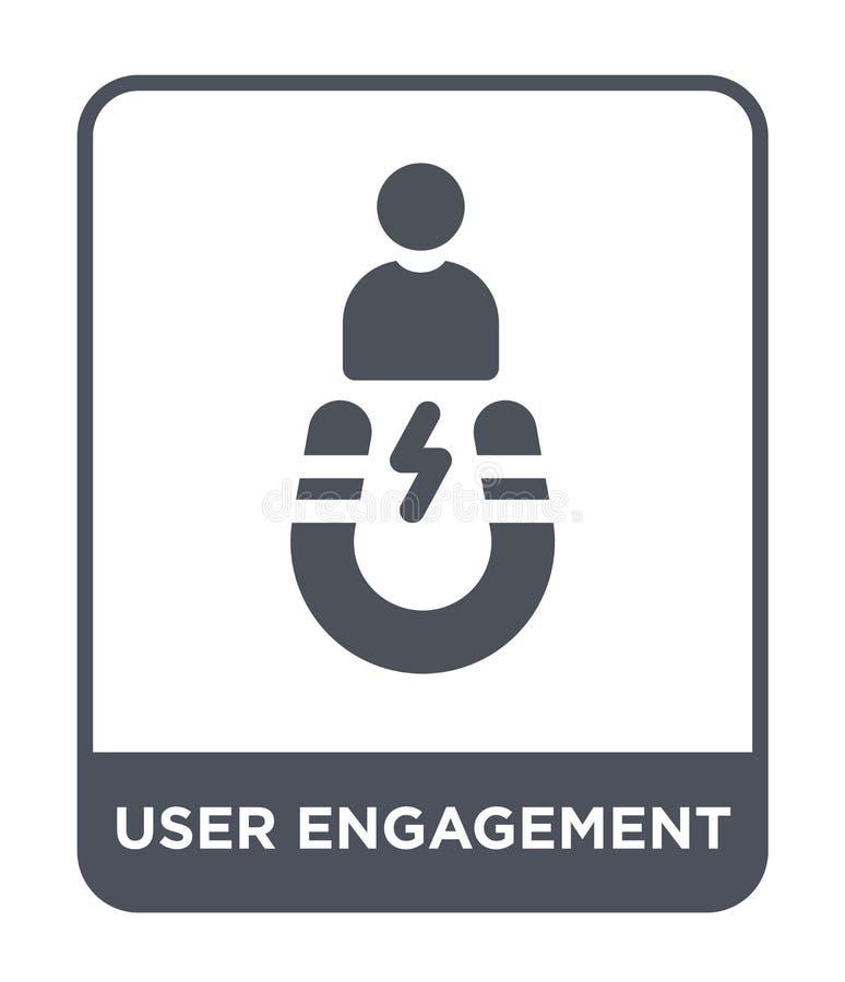 icono del compromiso del usuario en estilo de moda del diseño icono del compromiso del usuario aislado en el fondo blanco icono d stock de ilustración