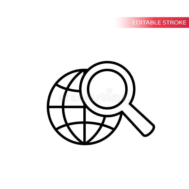 Icono del concepto de la búsqueda del web Icono del web del globo y de la lupa Ningún terraplén, movimiento negro stock de ilustración