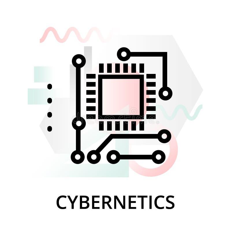 Icono del concepto de la cibernética en fondo abstracto stock de ilustración