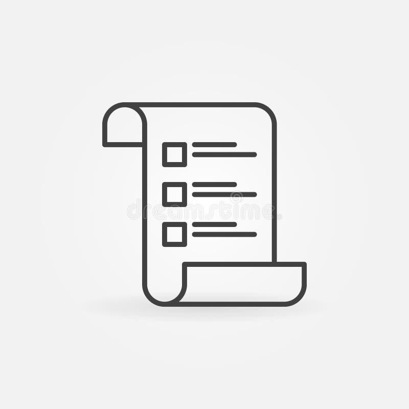 Icono del concepto de la lista de control o del vector de la encuesta en la línea estilo fina ilustración del vector