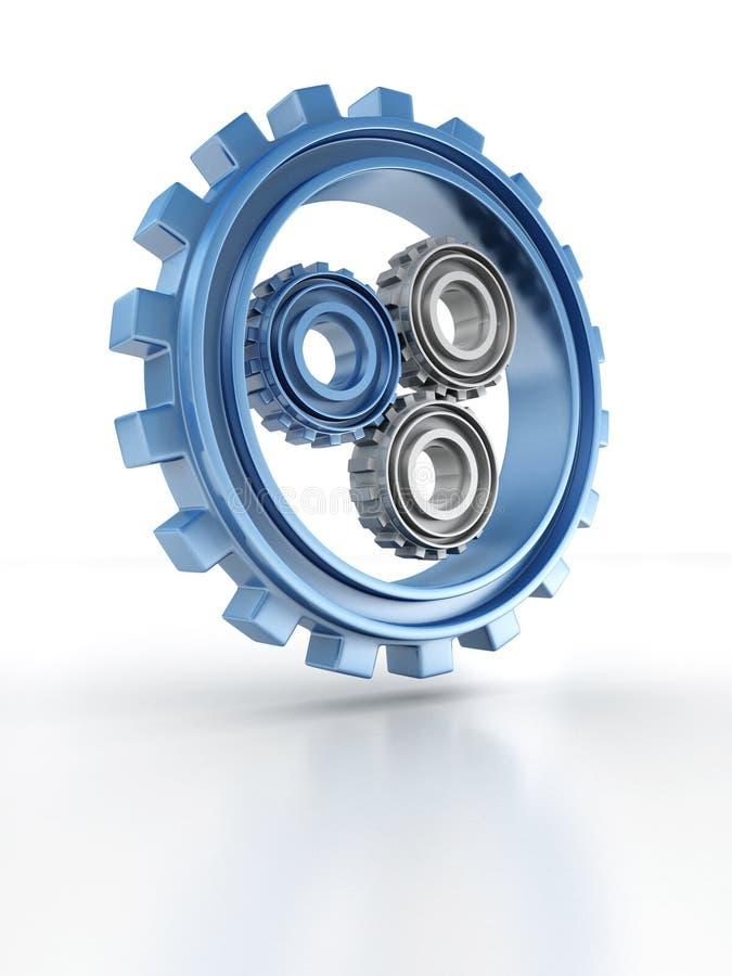 Icono del concepto de las ruedas de engranaje de la dirección o del trabajo en equipo stock de ilustración