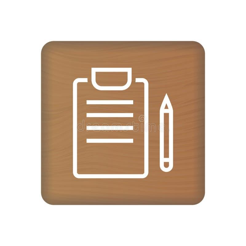 Icono del concepto de los informes médicos en los bloques de madera aislados en un fondo blanco Ilustración del vector Concepto d ilustración del vector