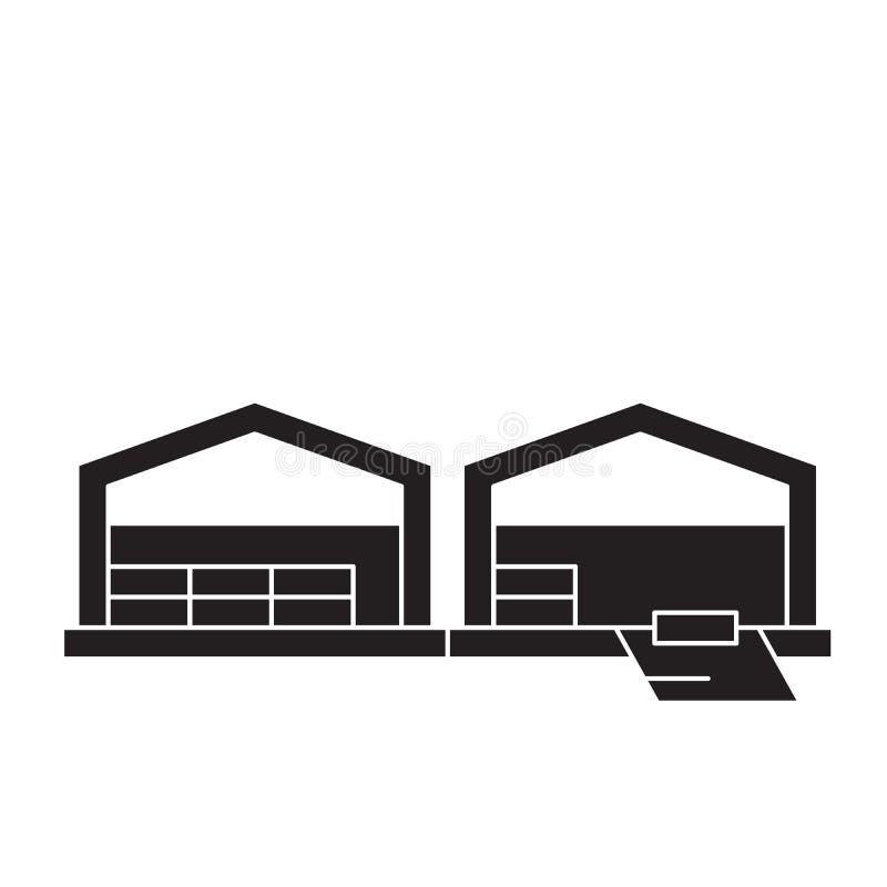 Icono del concepto del vector del negro del almacén de la logística Ejemplo plano del almacén de la logística, muestra ilustración del vector