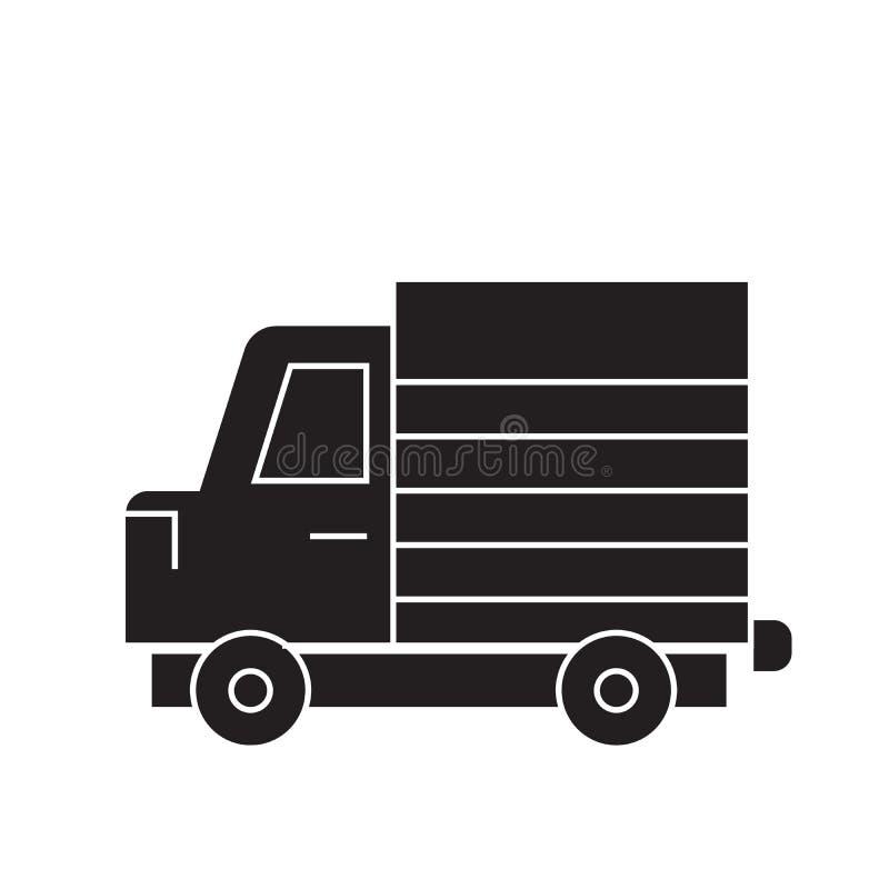 Icono del concepto del vector del negro del camión del camión Ejemplo plano del camión del camión, muestra stock de ilustración