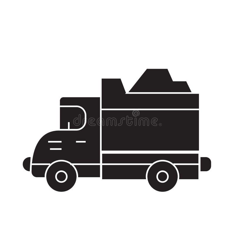 Icono del concepto del vector del negro del camión pesado Ejemplo plano del camión pesado, muestra ilustración del vector