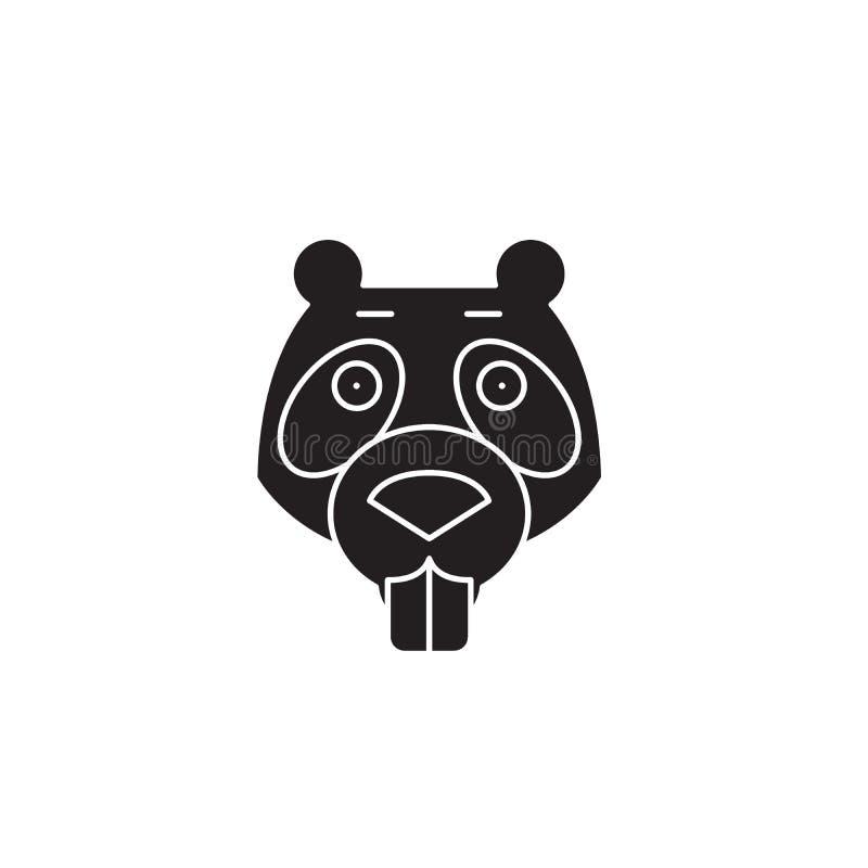 Icono del concepto del vector del negro del castor Ejemplo plano del castor, muestra stock de ilustración