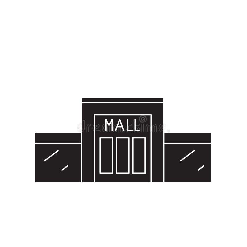 Icono del concepto del vector del negro del centro comercial Ejemplo plano del centro comercial, muestra stock de ilustración