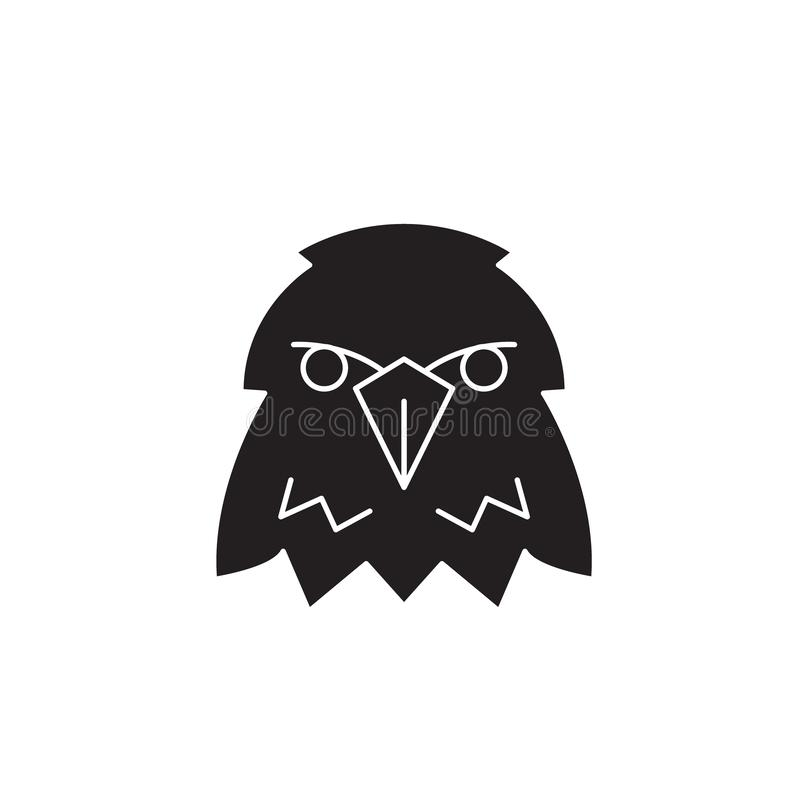 Icono del concepto del vector del negro de la cabeza de Eagle Ejemplo plano de la cabeza de Eagle, muestra stock de ilustración