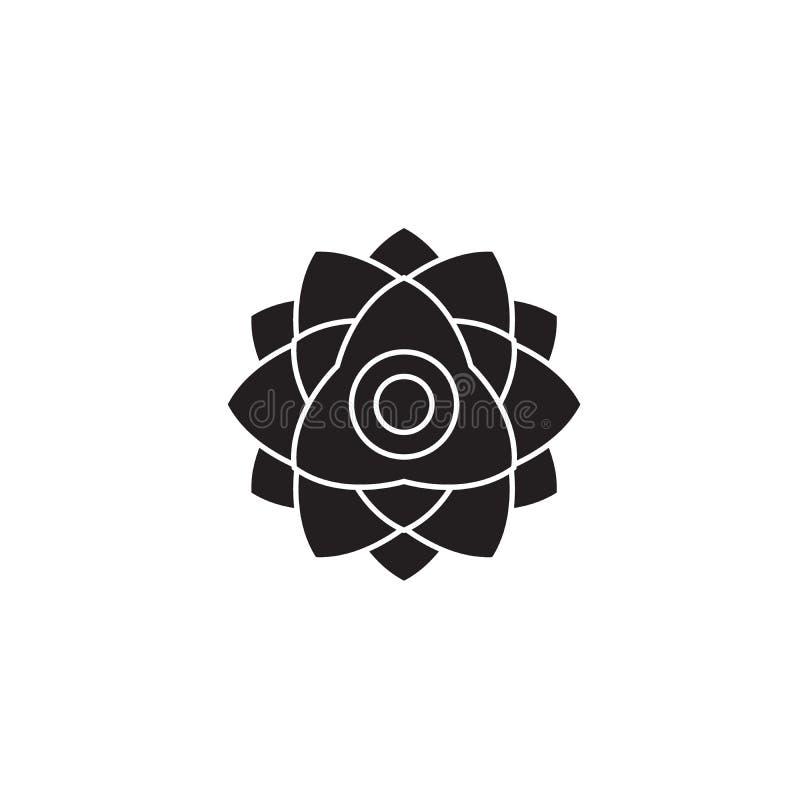 Icono del concepto del vector del negro de la flor de la peonía Ejemplo plano de la flor de la peonía, muestra ilustración del vector