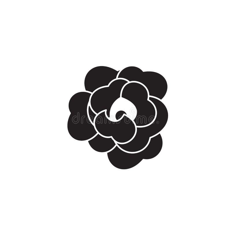 Icono del concepto del vector del negro de la flor de Rose Ejemplo plano de la flor de Rose, muestra ilustración del vector