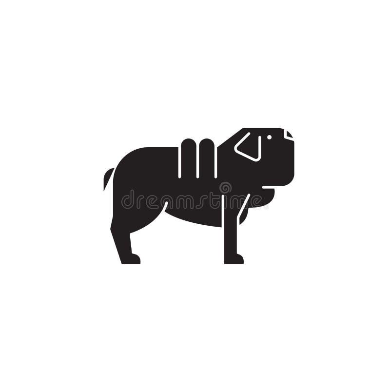 Icono del concepto del vector del negro del perro del pei de Shar Ejemplo plano del perro del pei de Shar, muestra ilustración del vector
