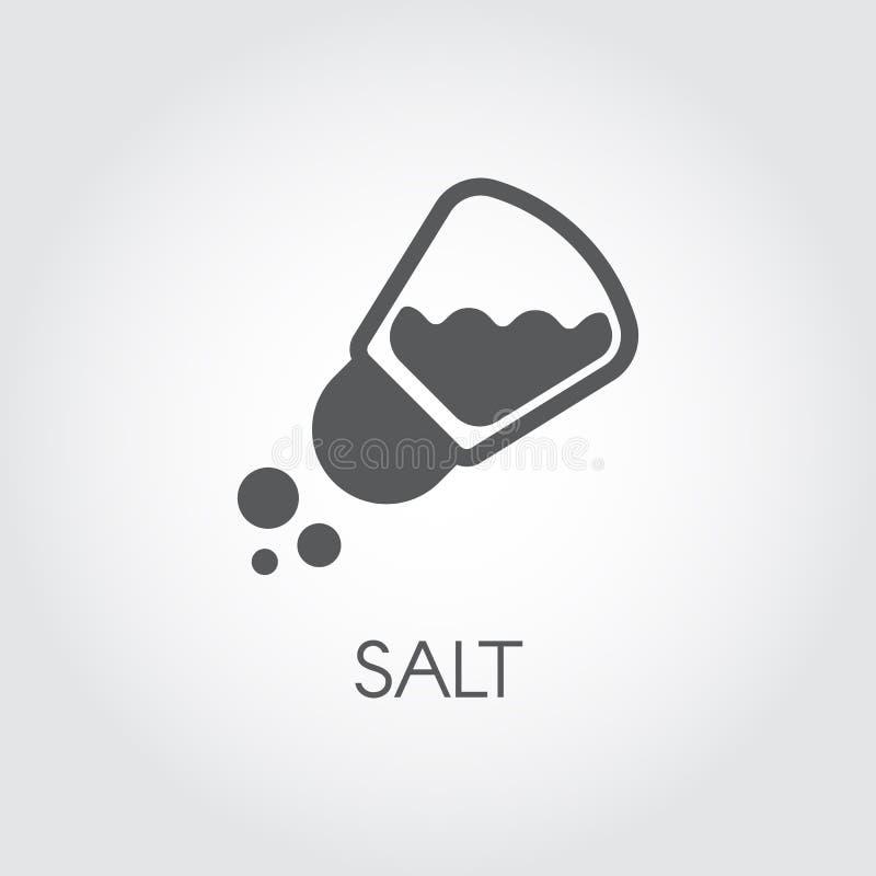 Icono del condimento de la coctelera de sal en diseño plano Pictograma para la comida que cocina tema Emblema simple de la especi ilustración del vector