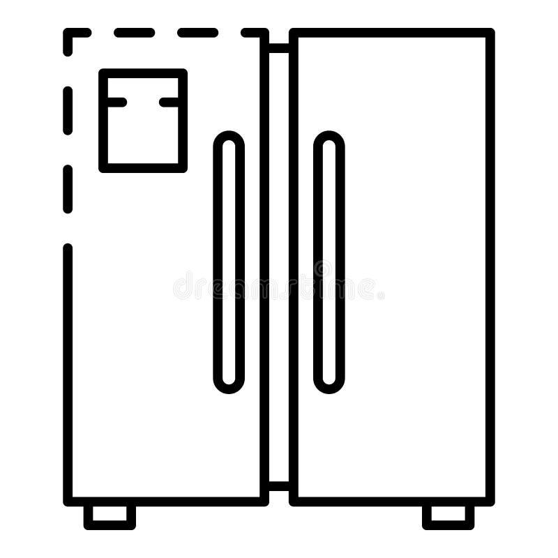 Icono del congelador de la puerta, estilo del esquema stock de ilustración
