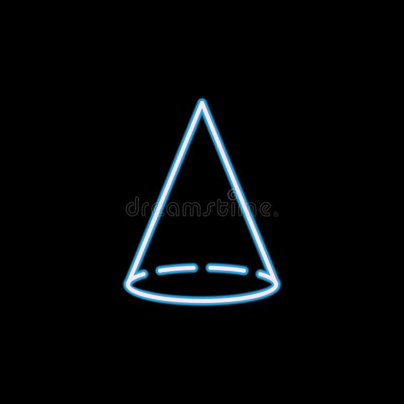 icono del cono en el estilo de neón Uno de la figura geométrica icono de la colección se puede utilizar para UI, UX stock de ilustración