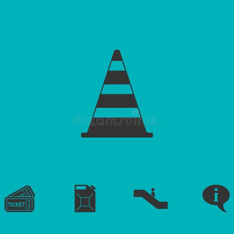 Icono del cono del tráfico completamente stock de ilustración