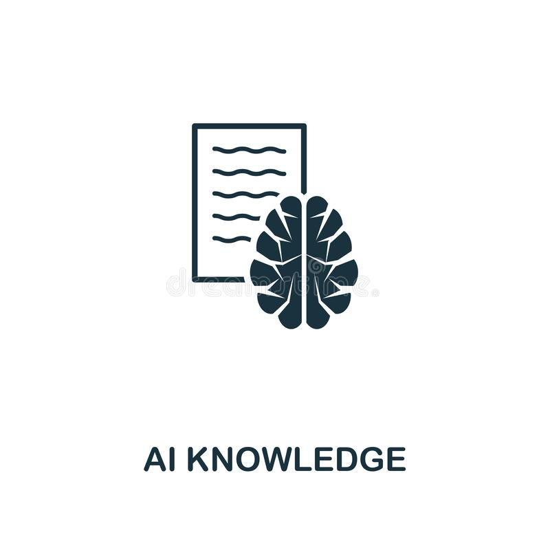 Icono del conocimiento del Ai Diseño superior del estilo de la colección del icono de la inteligencia artificial UI y UX Icono pe stock de ilustración
