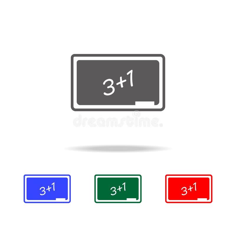 Icono del consejo escolar Elementos en los iconos coloreados multi para los apps móviles del concepto y del web Iconos para el di ilustración del vector