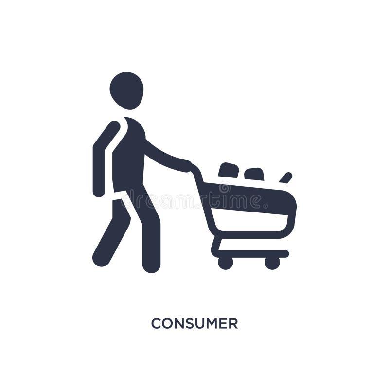 icono del consumidor en el fondo blanco Ejemplo simple del elemento del concepto del márketing libre illustration