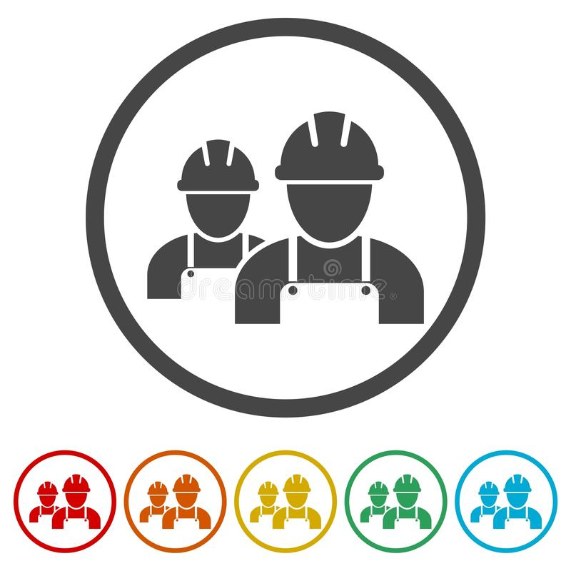 Icono del contratista, icono de los trabajadores, 6 colores incluidos stock de ilustración