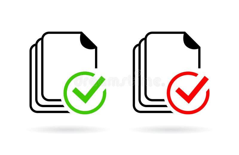 Icono del control de la gramática del deletreo del documento ilustración del vector