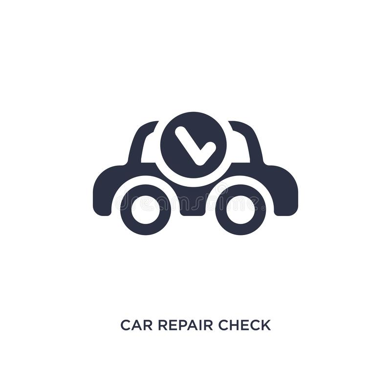 icono del control de la reparación del coche en el fondo blanco Ejemplo simple del elemento del concepto de los mechanicons libre illustration