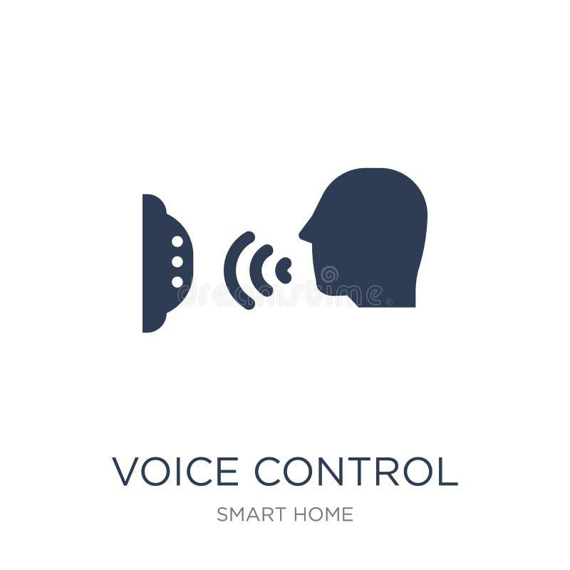 Icono del control de la voz Icono plano de moda del control de la voz del vector en whi ilustración del vector