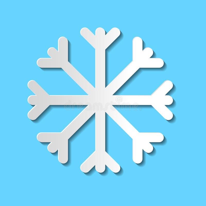 Icono del copo de nieve del corte del papel del vector aislado en fondo azul; sim stock de ilustración