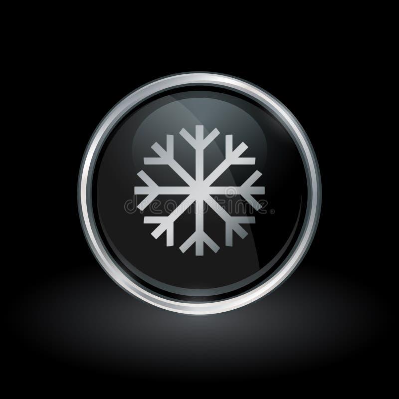 Icono del copo de nieve dentro de la plata redonda y del emblema negro libre illustration