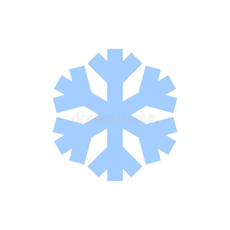 Icono del copo de nieve Muestra azul de la escama de la nieve de la silueta, aislada en el fondo blanco Diseño plano Símbolo del  ilustración del vector