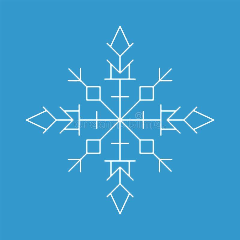 Icono del copo de nieve Muestra blanca de la escama de la nieve de la silueta, aislada en fondo azul libre illustration