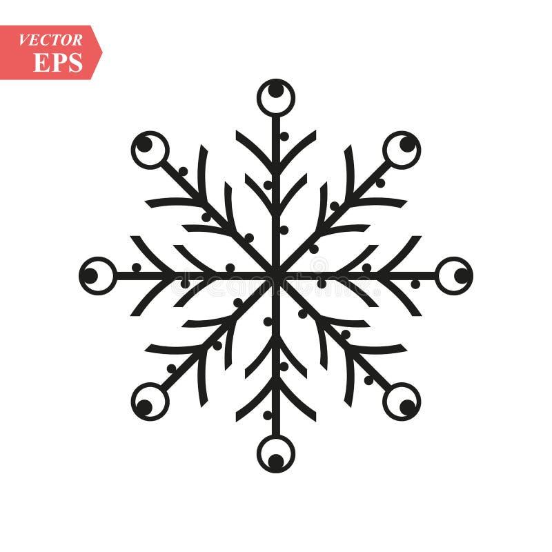 Icono del copo de nieve Muestra negra de la escama de la nieve de la silueta, aislada en el fondo blanco Diseño plano Símbolo del libre illustration