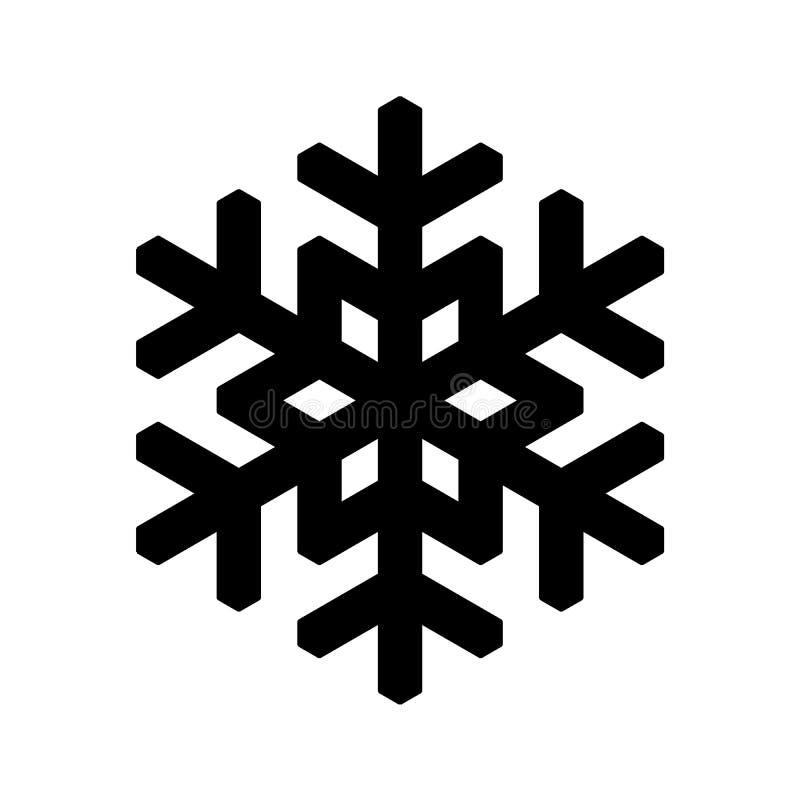 Icono del copo de nieve Tema de la Navidad y del invierno Ejemplo simple del negro plano en el fondo blanco ilustración del vector