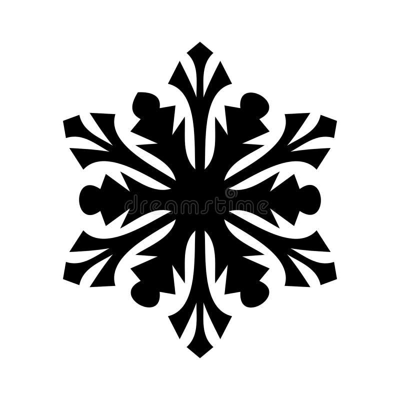 Icono del copo de nieve Tema de la Navidad y del invierno Ejemplo simple del negro plano en el fondo blanco libre illustration