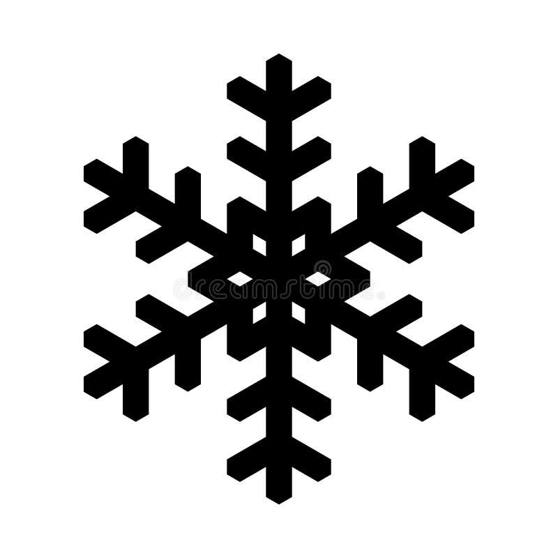 Icono del copo de nieve Tema de la Navidad y del invierno Ejemplo simple del negro plano en el fondo blanco stock de ilustración