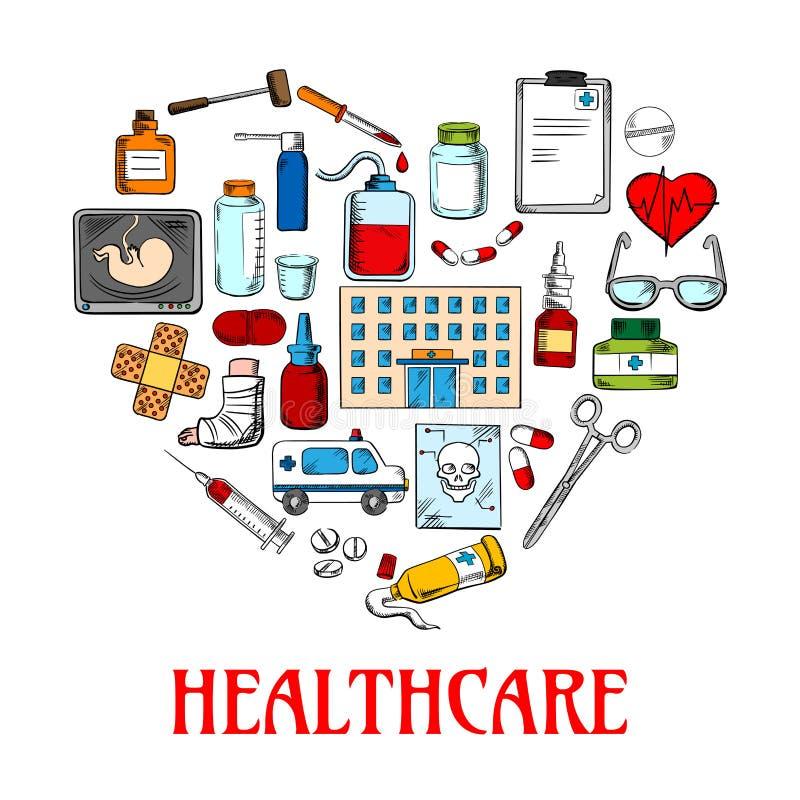 Icono del corazón con atención sanitaria y bosquejos médicos ilustración del vector