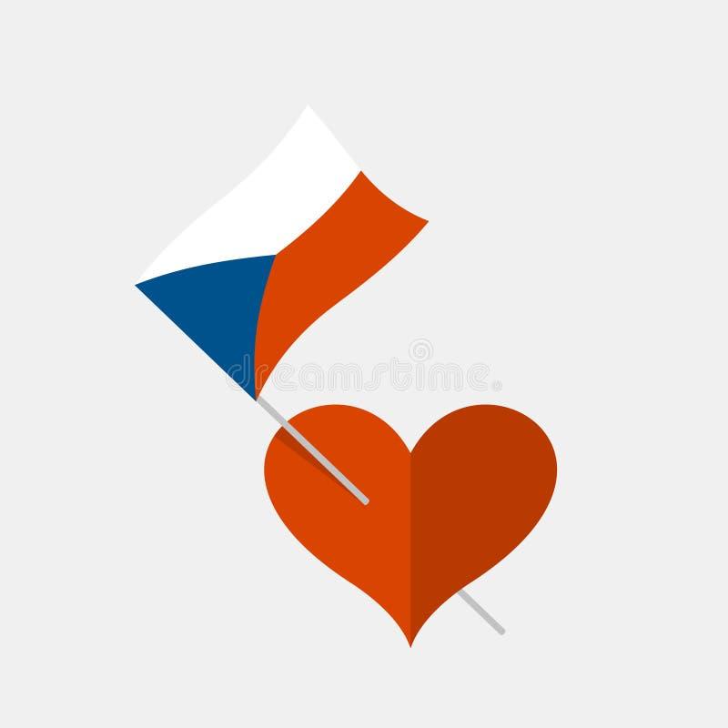 Icono del corazón con la bandera de checo libre illustration