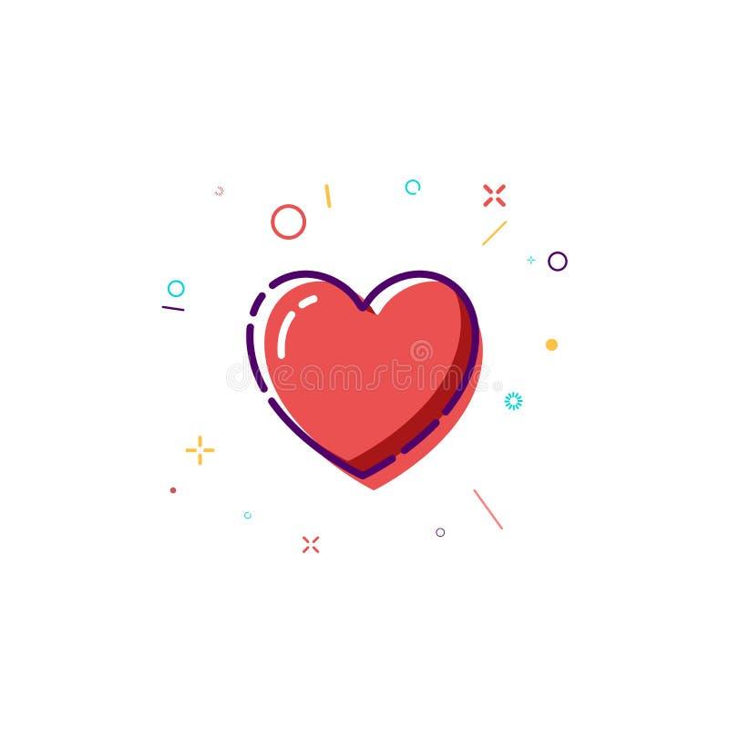 Icono del corazón del concepto Línea fina diseño plano del corazón Tarjeta feliz del día de tarjetas del día de San Valentín Ilus stock de ilustración