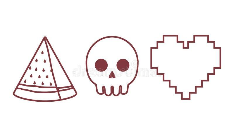 Icono del corazón, del cráneo y de la sandía libre illustration