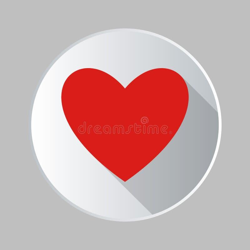 Icono del corazón de la etiqueta engomada aislado en fondo Pictograma plano moderno, negocio, márketing, Internet concentrado libre illustration