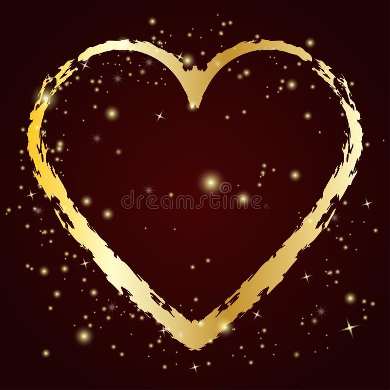 Icono del corazón del oro con el cepillo del grunge Ilustración del vector ilustración del vector