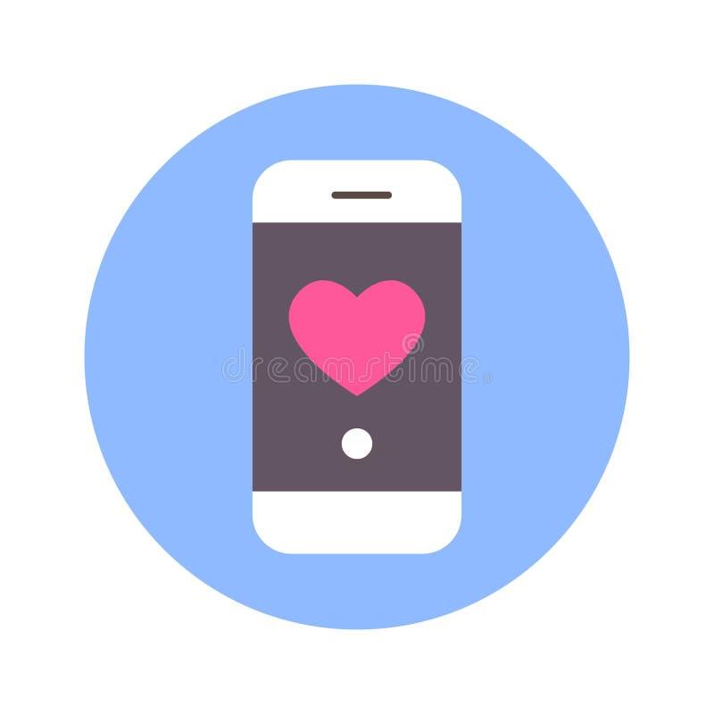 Icono del corazón en mensaje de teléfono elegante en el fondo redondo azul aislado ilustración del vector