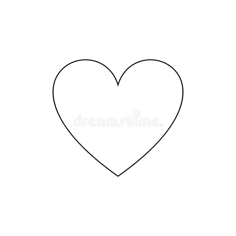 Icono del corazón del esquema del vector, símbolo simple del amor, línea negra aislada libre illustration